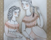 "Original watercolor pen & ink Victorian girls painting, ""The Lace Makers"""
