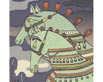 playtime silkscreen (giant horses)