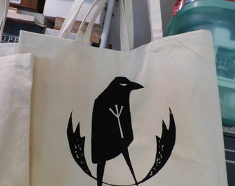 GUARDIAN RUNE RAVEN shoulder bag screen printed black on natural cotton jumbo sized eco friendly shopping tote bag