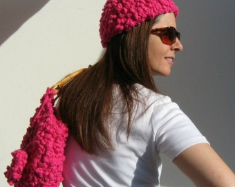 Hot Pink Cotton Toque Hat, Boho Hand Knit Cute Hat, Magenta Knit Beanie, Womens Hats, Summer Accessories, Ready to Ship, Cotton Hat, Tuque