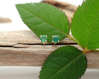Emerald Earrings in Gold, Silver, or Platinum with Genuine Gems, 3mm A Quality - Free Gift Wrapping