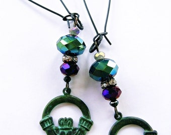 Irish Claddagh Hands Crown Heart Green Verdigris Earrings Purple Metallic Iridescent Crystal Beads Victorian Dangles by Spinning Castle