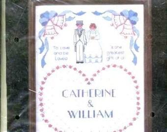 1985 - WEDDING SAMPLER, Full KIT - Charming, Janlynn - Mint Cross Stitch Needlework- Cotton Floss, Aida fabric, english instructions, graph