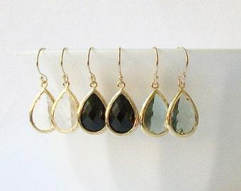 Clear, Black or Grey Crystal Drop Earrings, Crystal Drop Earrings