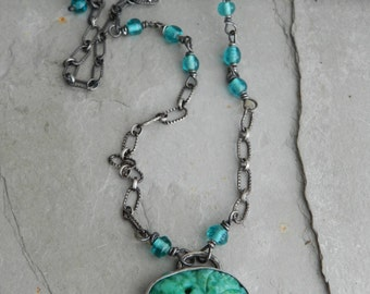 Vintage Oval Green Shades Pressed Glass Flower Cabochon and Handmade Sterling Necklace-- Bouquet