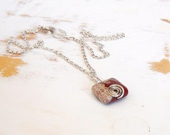 Pink Jasper Pendant Necklace with Silver Spiral on Sterling Silver Chain, Hand Forged Artisan Jewellery, Everyday Jewellery