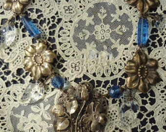 Sale--Vintage Victorian Necklace with Wild Rose