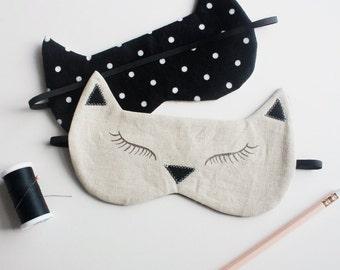 Black Cat Sleeping Mask // Unisex Sleep Mask // Natural Linen Eye Mask // Black & White Kitty Sleeping Mask // light-blocking sleep mask