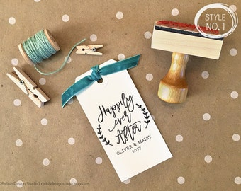 Wedding Favor Stamp, Happily Ever After Stamp, Wedding Package Stamp, Custom Wedding Tags, Couples Stamp Design 143, DIY wedding