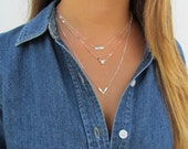 Layered SET of Necklaces, Tiny Dash Bar Necklace, Lana Blake Refelctive Chain, Small Cheveron V Necklace, 14kt Gold Filled or Sterling