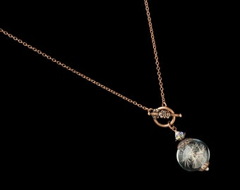 Dandelion Necklace, Wish Necklace with Real Dandelion Seeds in Glass Orb with Rose Gold Filigree Pendant, Pearl & Crystal Statement Necklace