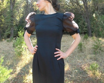 Vintage 1980s Vintage Maya Jornot Cocktail Dress... Sheer Puffed Sleeves... Formal Dress... Party Dress