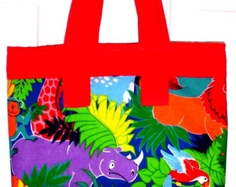 Small Shopping Bag, Handmade Fabric Tote Bag, Library Tote Bag, Zoo Animal Design Tote Bag, Toy Storage, Mini Tote Bag, Child's  Tote Bag