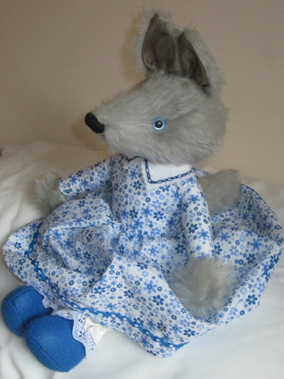 Stuffed Wolf Toy Called Betty Cuddly Grey Plush Blue Floral Poplin Frock Ltd Edition Child or Adult Companion Gift Christmas Present
