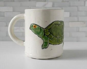 Turtle Mug   coffee mug tea cup   green white with green inside   turtle tortoise cute animal mug   made to order