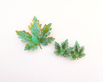 Green Maple Leaf Barrettes Bridal Hair Clips Bride Bridesmaid Autumn Fall Rustic Woodland Wedding Accessories Girlfriend Womens Gift For Her