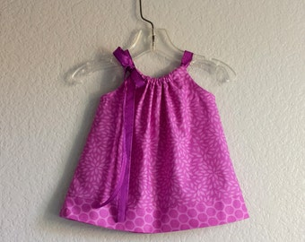Baby Girls Purple Easter Dress with Bloomers - Purple Flowers & PolkaDots - Pillowcase Dress and Bloomers - Sizes Nb, 3m, 6m, 9m, 12m or 18m