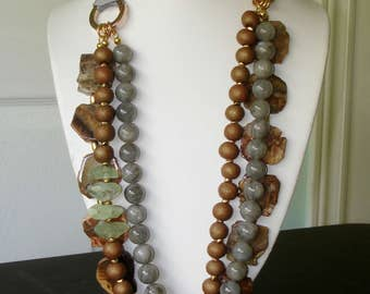Ashira Rich Natural Petrified Wood Stone, Labradorite, Prehnite Statement Necklace