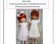 Pattern MSD7 Dress and Pinafore for BJD MSD Fit to Kaye Wiggs MSD 43cm and 45cm