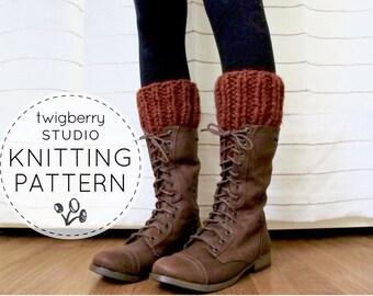 Knit Boot Cuffs PATTERN Chunky Knit Boot Warmers Pattern Knitted Ribbed Leg Warmers Bootcuffs Legwarmers Pattern Fall Boot Warmers DIY Trim