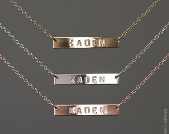 Bar Necklace - Stamped Solid Thick Bar Necklace - Gold, Sterling Silver, and Rose Gold Fill - Personalized Bridesmaid Gift Idea