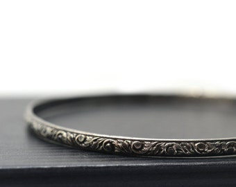 Oxidized Silver Bangle, Renaissance Jewelry, Sterling Silver Stacking Bangle, Black Floral Silver