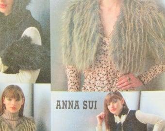Vogue 7950 Sewing Pattern, Anna Sui Jacket Pattern, Bolero Pattern, Leg Warmers, Vest, Hat and Mittens, Designer Pattern, 2004 Pattern