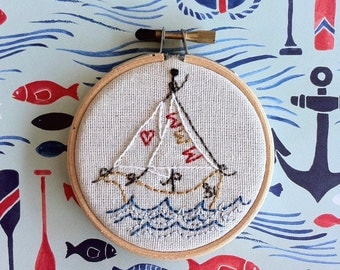 embroidery kit // so secrets between sailors - sailor ship - embroidery kit