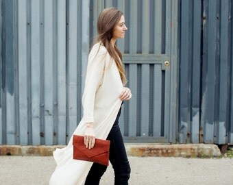 CLARA Leather Envelope Clutch. Brown Leather Clutch. Brown Leather Bag. Brown Leather Purse. Cognac Leather Bag.