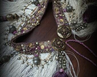 Tribal Fusion Belt with Fringe and Tassels Tribal Belly Dance Belt Cream Purple Mauve Gold Pearl Fringe Belt Hip Scarf Tribal Fusion Costume