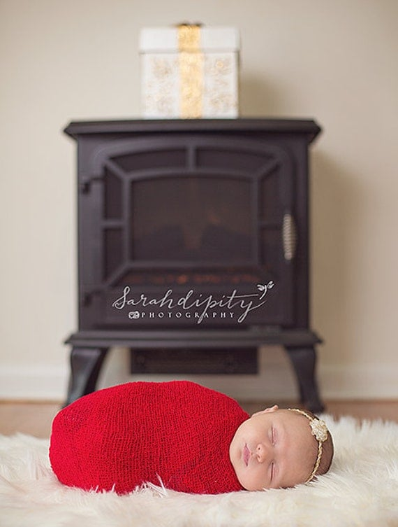Red Baby Swaddle Wrap AND/OR Matching Gold/White Headband, stretch knit, wrap for boys or girls newborn photo shoots, Lil Miss Sweet Pea