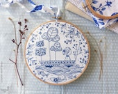 DIY kit, Blue wall art, Sea blue, Hand embroidery - Blue Ocean Embroidery kit - DIY gift, Blue white, Sea nursery, Embroidery hoop art