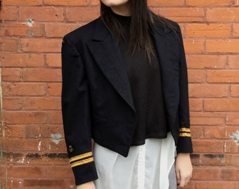 vintage military Jacket 1960s Naval Officer Dress Jacket Canadian Navy cropped jacket
