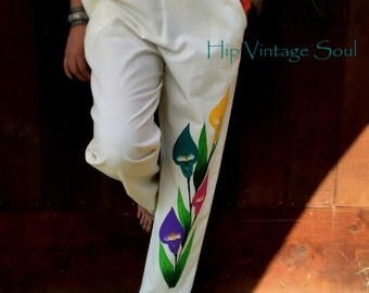 Vintage 1970's Hand Painted Mexican Pants, Art to Wear, Mexican Clothing, Ethnic, Bohemian