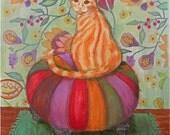 Chat de gingembre peinture cadeau mixte pour chat amateur Chat Orange papier peint à motifs chat assis Ottoman Orange prune rouge coloré