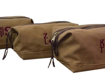 Set of 3 Personalized Toiletry Bags Groomsmen Gifts Mens Dopp Kit Monogrammed