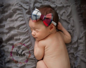 SALE - Baby Headband, Baby Girl Headband, Newborn Headband, Christmas Baby Headband, Plaid Headband, Plaid Bow, Baby Bows, Baby Headbands
