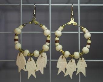 Vintage Bone Fish Earrings