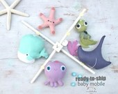 BABY MOBILE - OCEAN baby mobile, Baby whale, tiny octopus, cute turtle, starfish, manta ray, nursery decor
