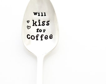 Will Kiss For Coffee spoon. Coffee Lover Gift idea by Milk & Honey.