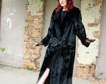 1920s coat, black velvet flapper duster long formal silk collar jacket, drop waist Art Deco Edwardian Victorian M L XL plus size Mandy