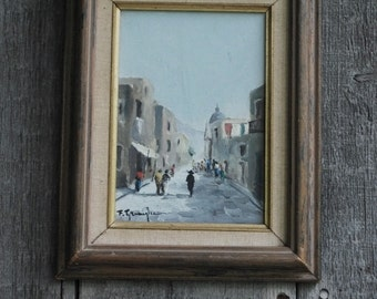 vintage oil painting - framed - signed by an Italian artist