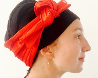 Red Silk Abaca Turban Headband- Tichel Topper