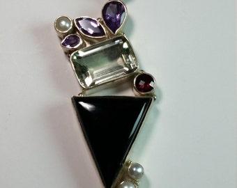 Sterling Silver Gemstone Pendant 83mm x 24mm