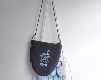 Nessie Says HI - ON SALE 20% Off Loch Ness Monster pattern small shoulder bag. Style109. Ready to ship