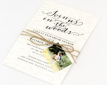 Woodsy Wedding Invitations - Rustic Intimate Outdoorsy Wedding – Nature Birch Wood Romance Wedding Invitation (Callan Suite)