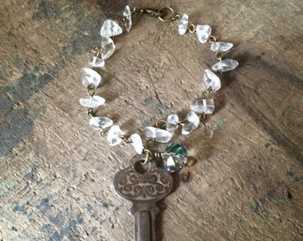 Vintage Rusty Key, Quartz Rock Bracelet