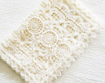 Vintage Romantic Home Cafe au Lait Lace Table Runner, Olives and Doves