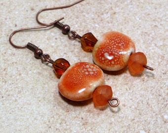 Beachcomber Orange Earrings: Handmade Earrings with Ceramic and Glass Beads, Nickle-Free Earwires, Handmade in the USA, Ready to Ship