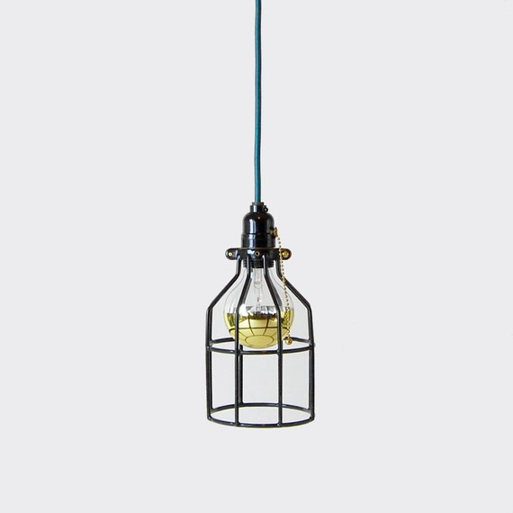 Open Cage Pendant Lighting : Pendant light w open wire cage shade black pull chain